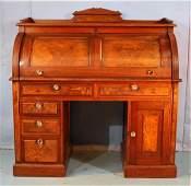 Walnut Victorian cylinder roll desk w burl trim