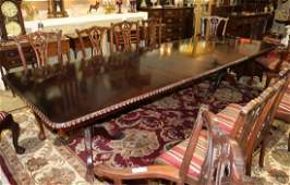 Mahogany Chippendale banquet table, 137 x 46 with leave