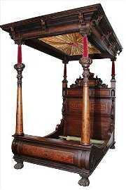 Unusual mahogany full tester bed, inlaid and