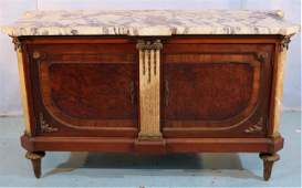 French marble top commode with bronze trim