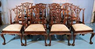Set of 12 mahogany dining chairs by Maitland Smith