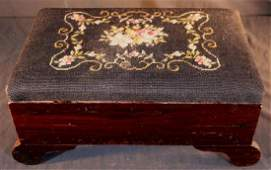 Rosewood foot stool with needlepoint seat 8 in T 18