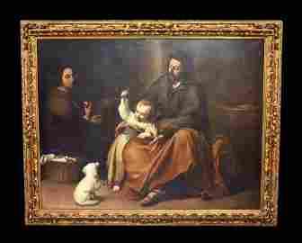Magnificent Monumental Antique Oil on Canvas