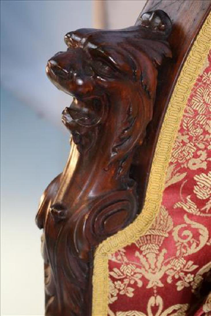 Mahogany heavily carved sofa with lion heads - 3