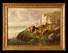 """Lg. 19th Cen Oil on Canvas """"Sheep on the Coast of"""