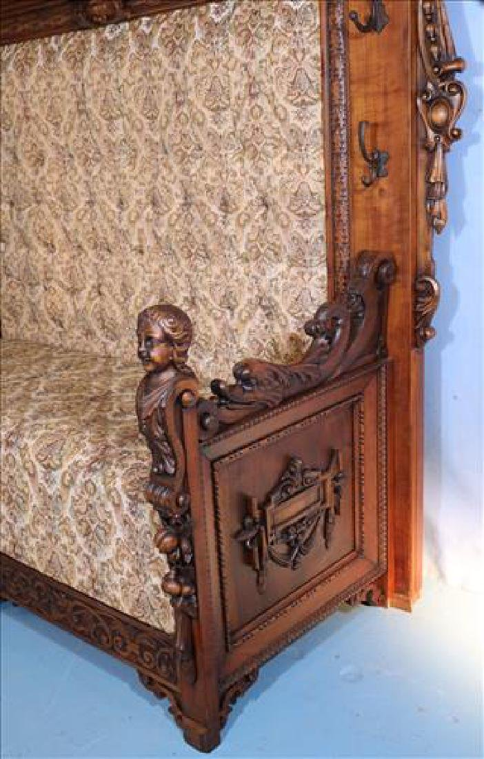 Rare heavily carved walnut hall sofa w carved faces - 9