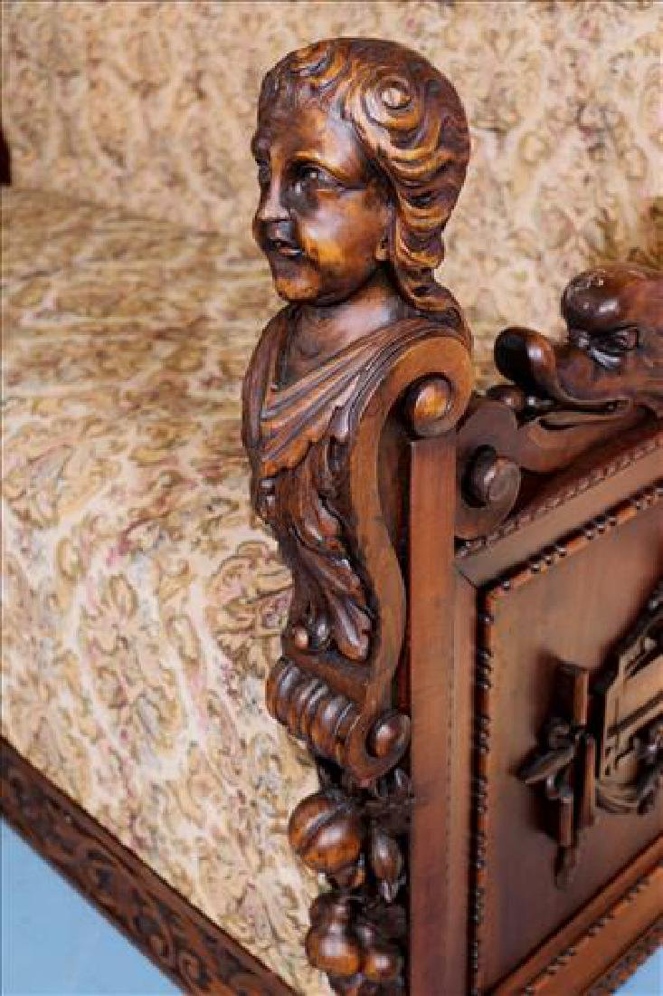 Rare heavily carved walnut hall sofa w carved faces - 3