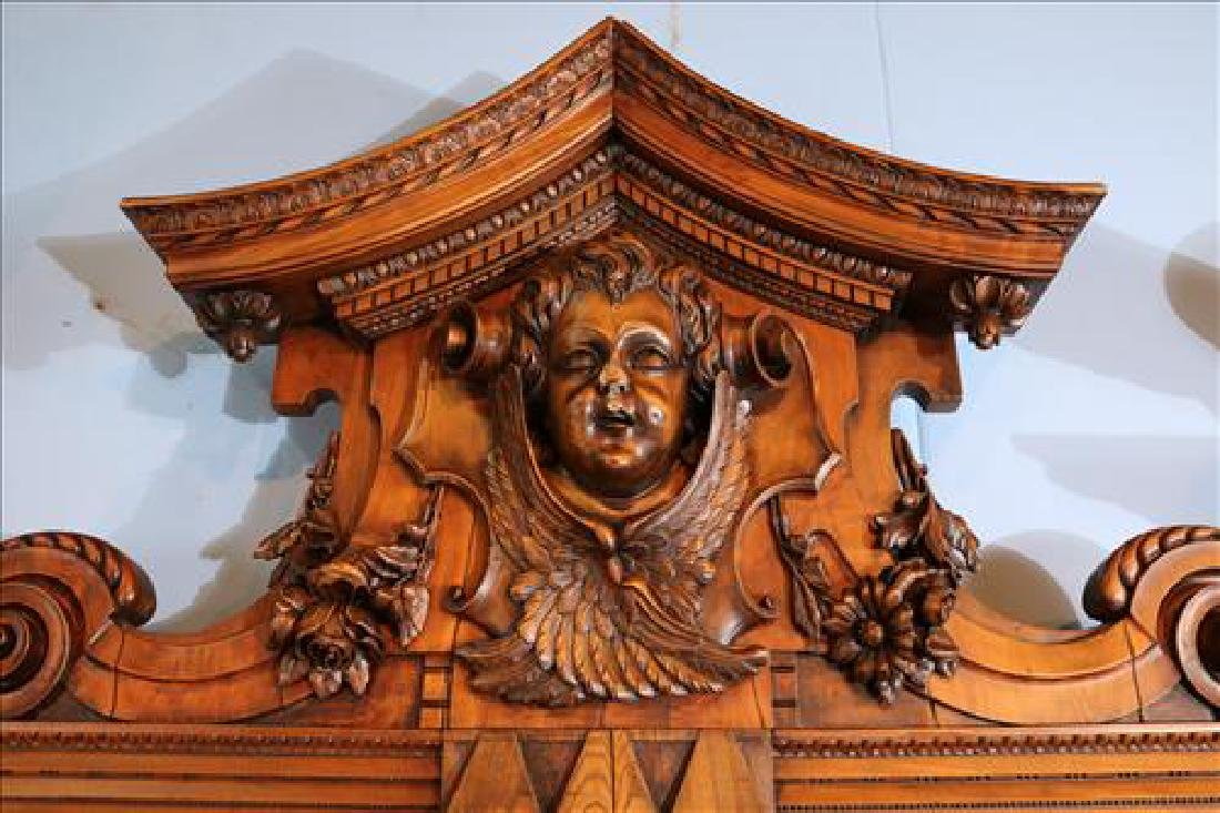 Rare heavily carved walnut hall sofa w carved faces - 5