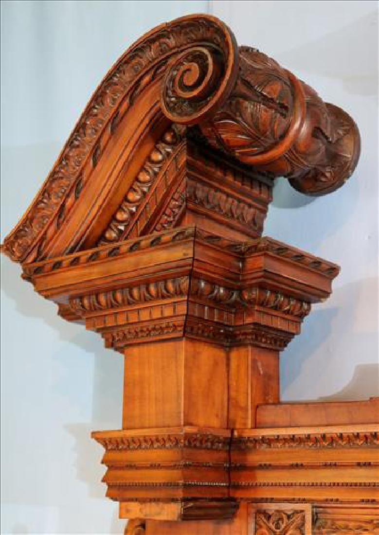 Rare heavily carved walnut hall sofa w carved faces - 6