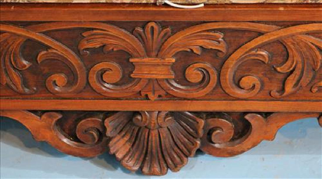 Rare heavily carved walnut hall sofa w carved faces - 8
