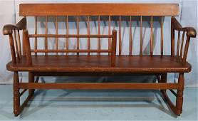 Primitive pine mammie's bench pegged together