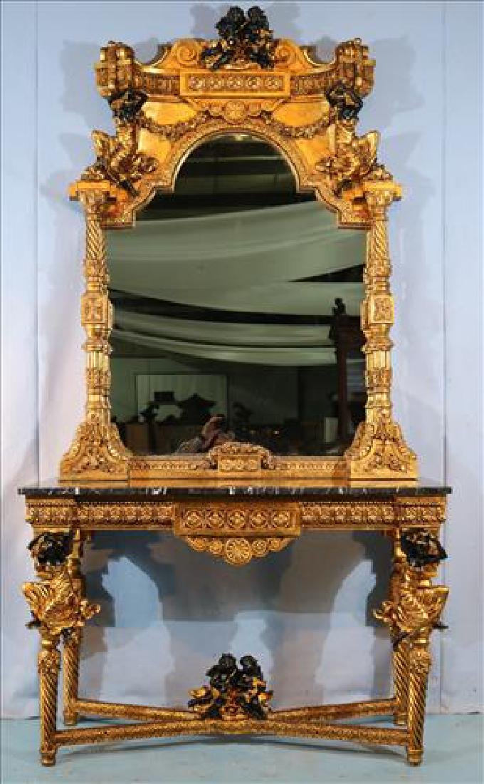 Contemporary console table with matching mirror