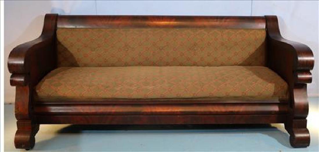 Mahogany Empire Meeks style sofa, 80 in. L.