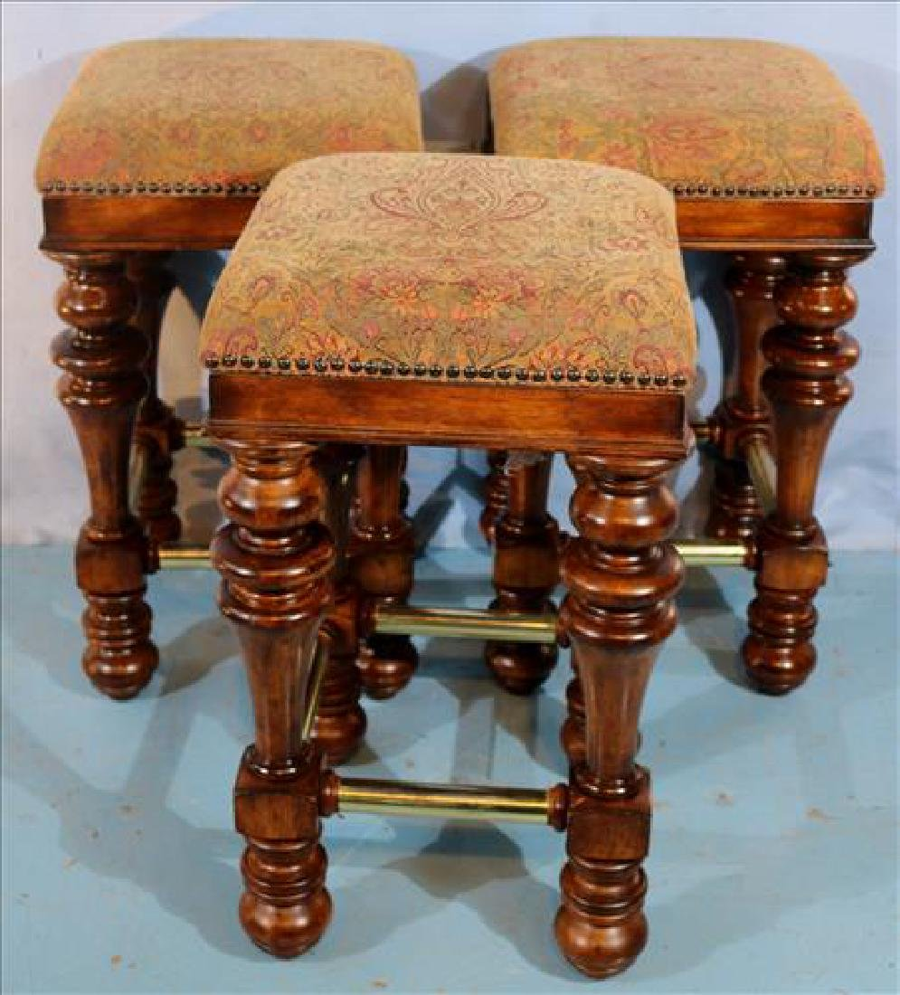 4 solid mahogany bar stools with brown upholstery