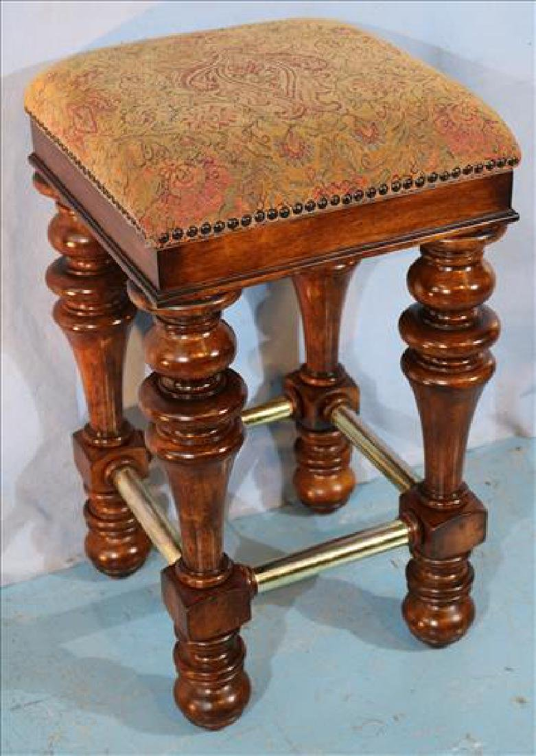 4 solid mahogany bar stools with brown upholstery - 2