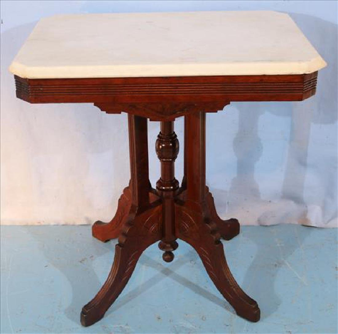 Walnut Victorian side table with marble top