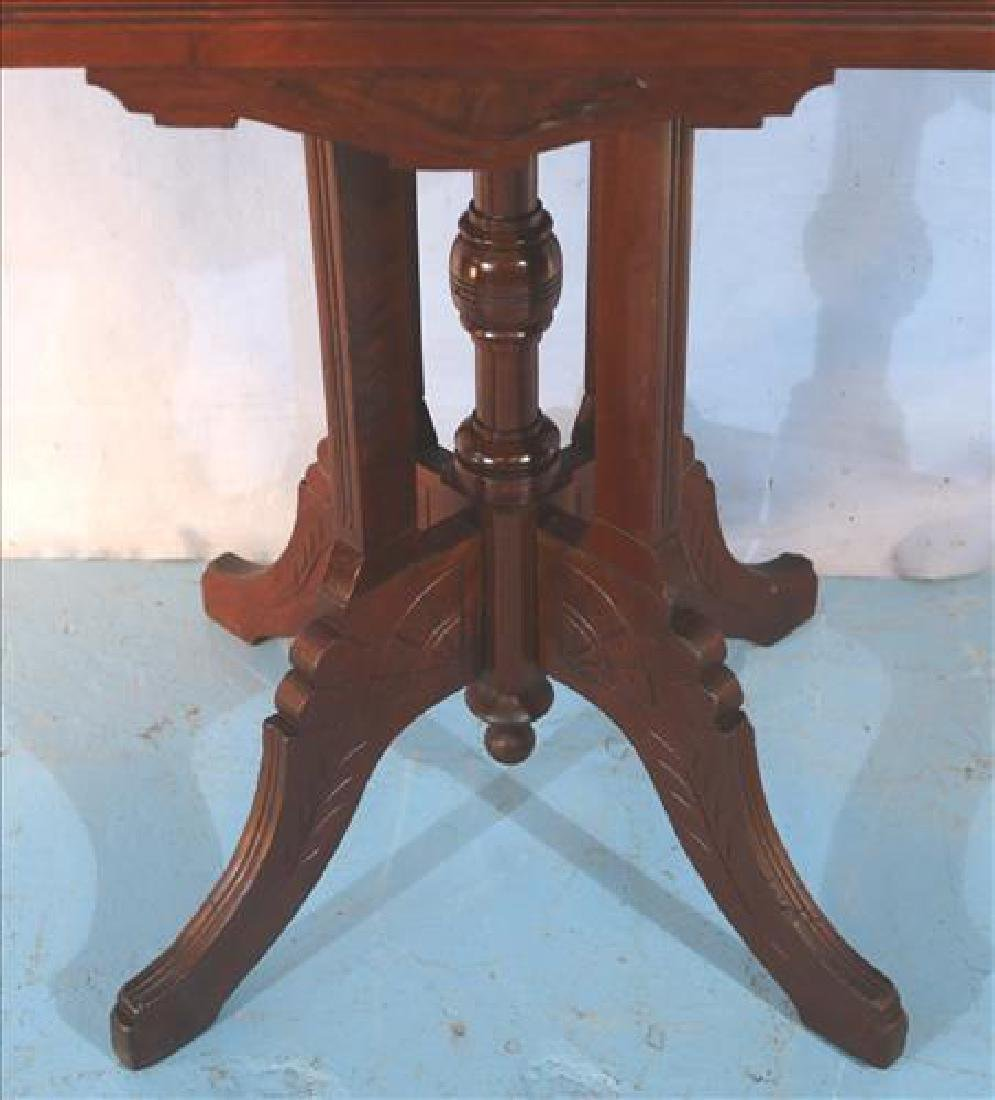 Walnut Victorian side table with marble top - 2