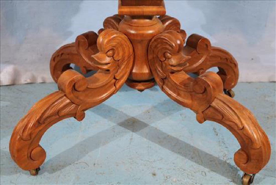 Walnut Victorian turtle top center table with dolphins - 3