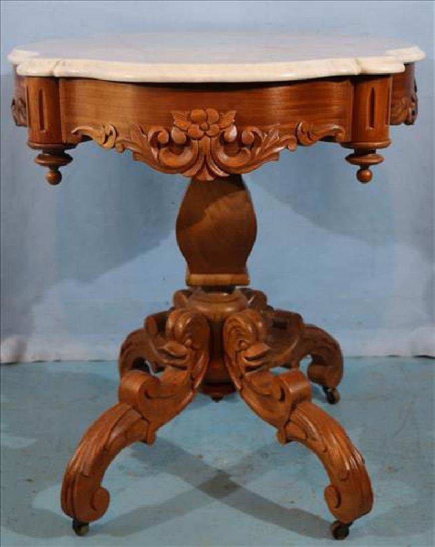 Walnut Victorian turtle top center table with dolphins - 5