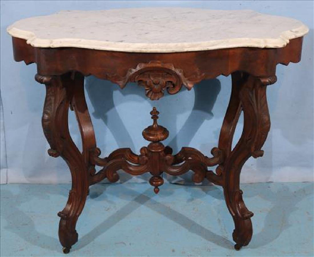Walnut Victorian marble top center table