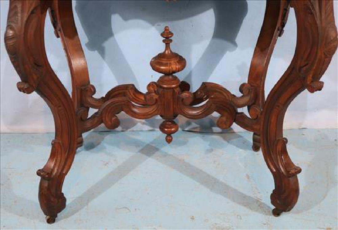 Walnut Victorian marble top center table - 2