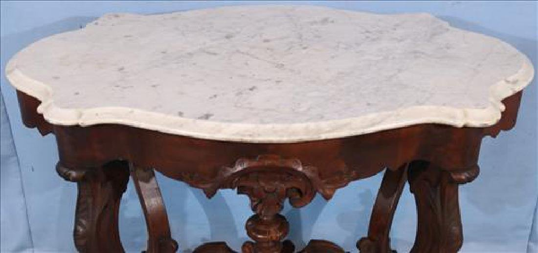 Walnut Victorian marble top center table - 3
