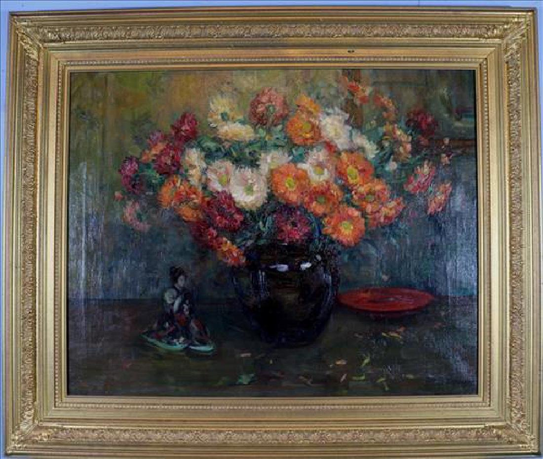 Large oil on canvas of Still life of flowers, 50 x 42