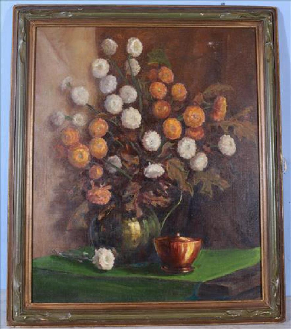 Oil on canvas of still life flowers in green frame