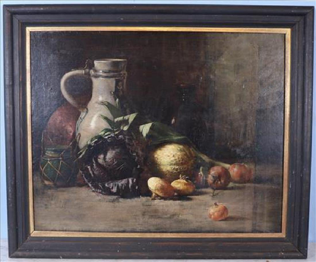 Oil on canvas of still life fruits in black frame, 34 x
