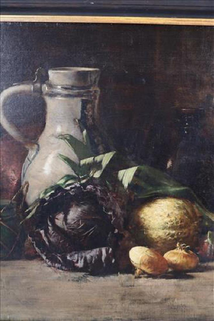 Oil on canvas of still life fruits in black frame, 34 x - 2