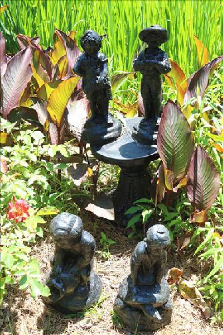 5 piece miscellaneous garden statues with 1 pedestal