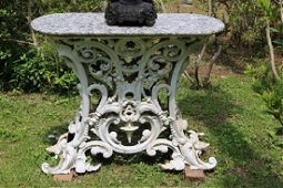 Early Victorian heavy cast iron porch console table