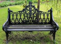 Solid cast iron garden bench with high back, 34 in. T.