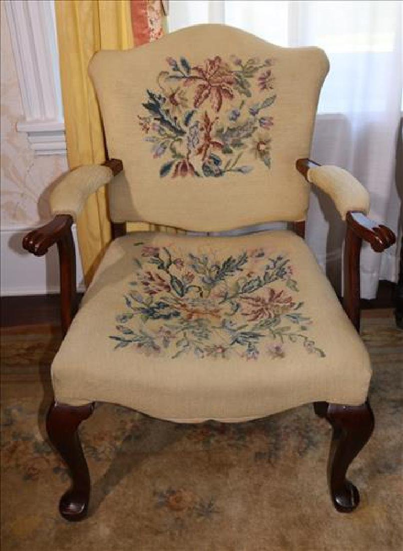 Queen Anne arm chair with beige needlepoint