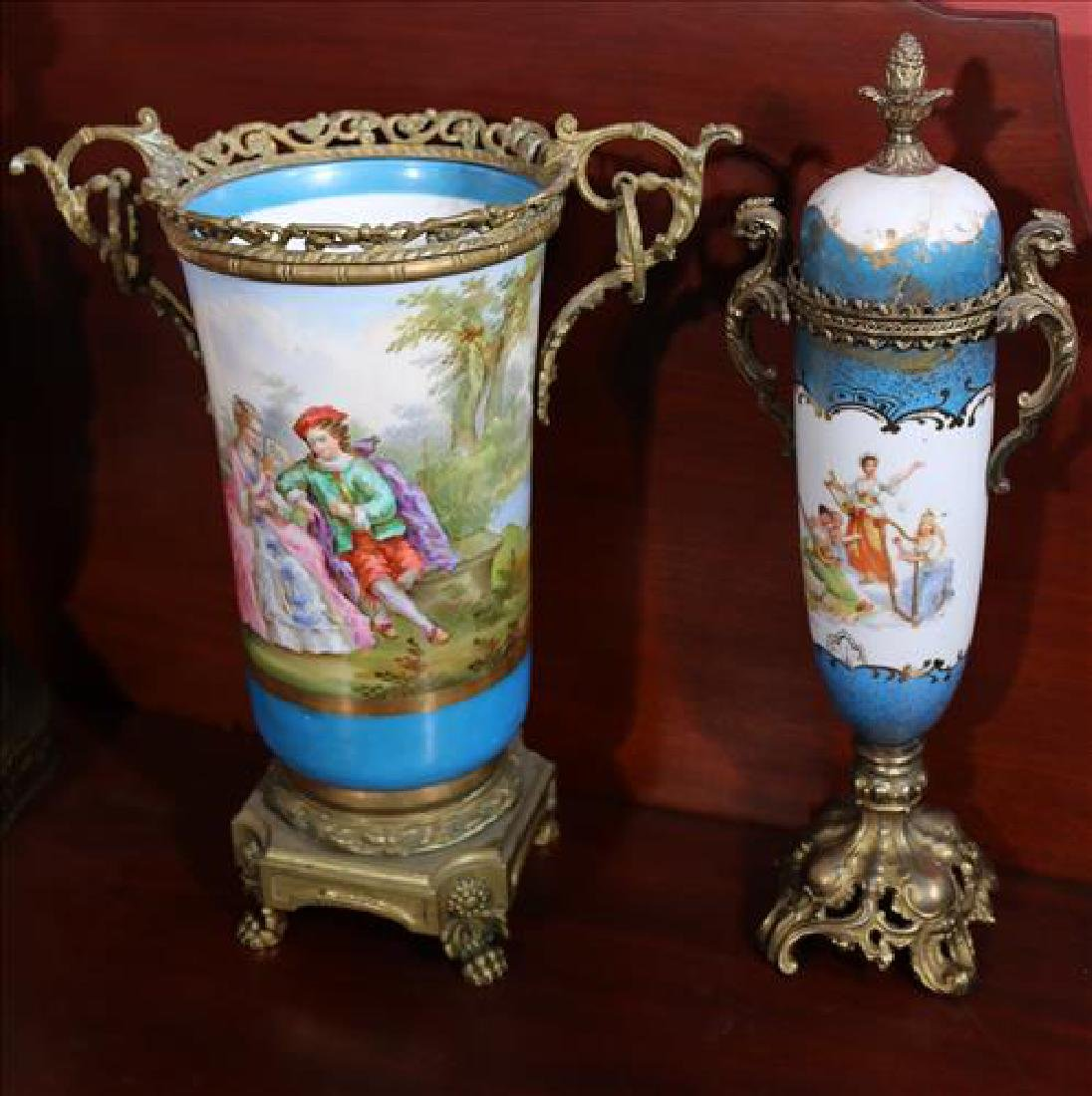 2 pieces, Sevres blue vase and capped urn with lid