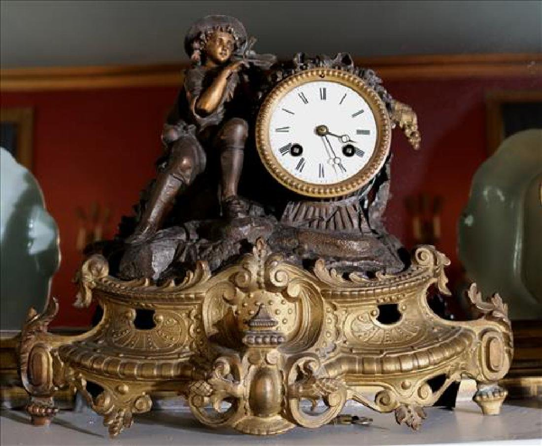 Bronze French mantle clock with figure playing violin