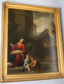 19th Century oil on canvas of Biblical family, ca. 1864