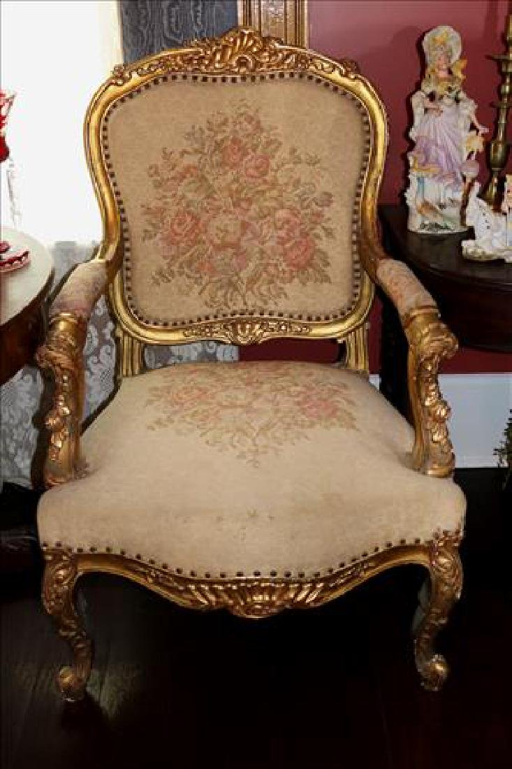 Pair of gold gilded antique French salon chairs