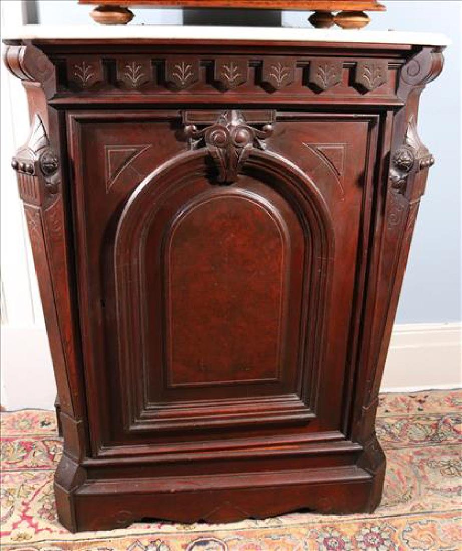 Walnut Victorian parlor cabinet with white marble top