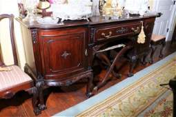 Solid mahogany Chippendale sideboard with lots of