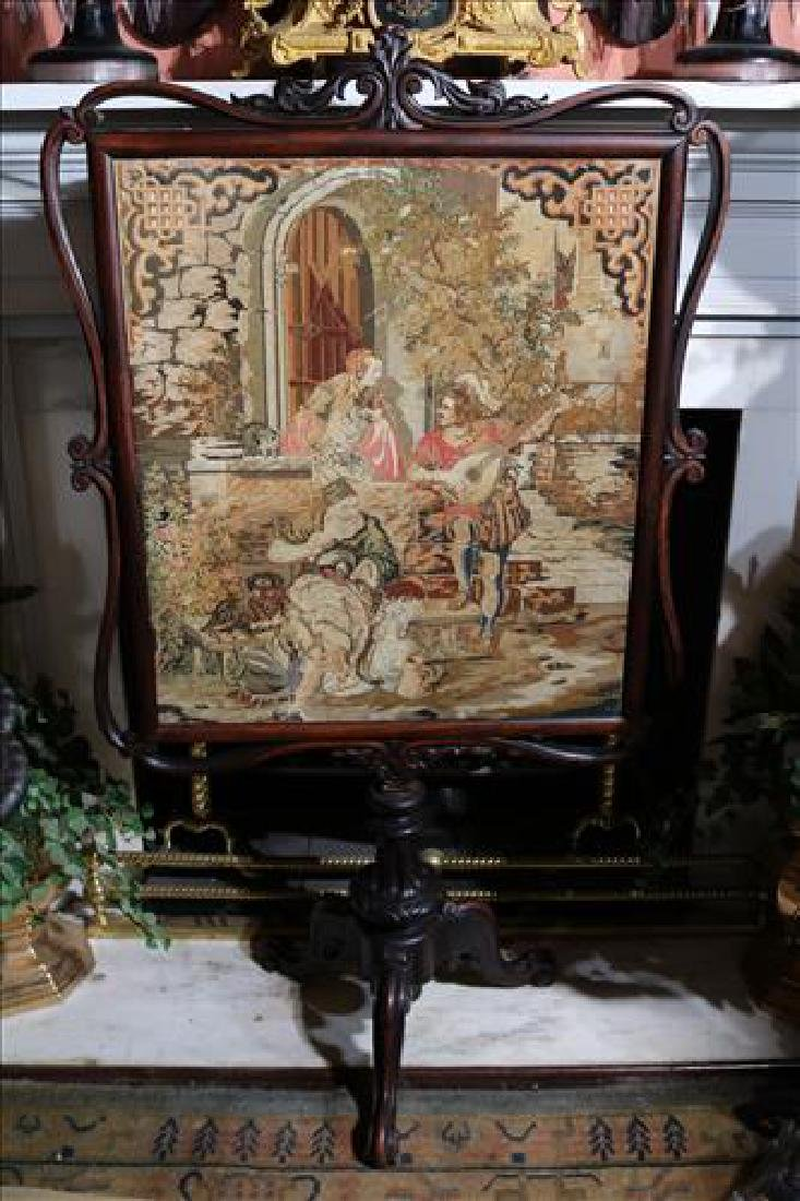 Rosewood Victorian fire screen with needlepoint