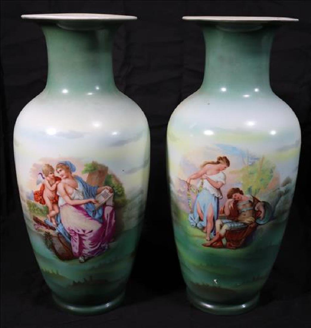 Pair of hand painted porcelain mantle vases, 15 in. T.