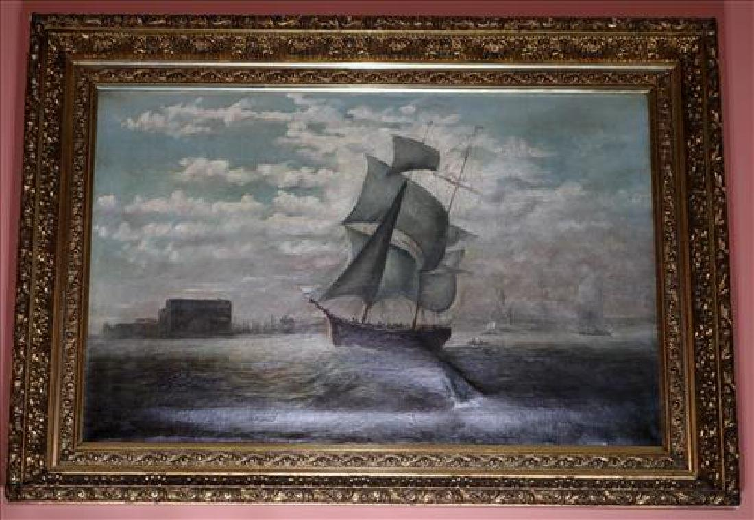 Antique oil on canvas of ships in harbor, 26 x 34