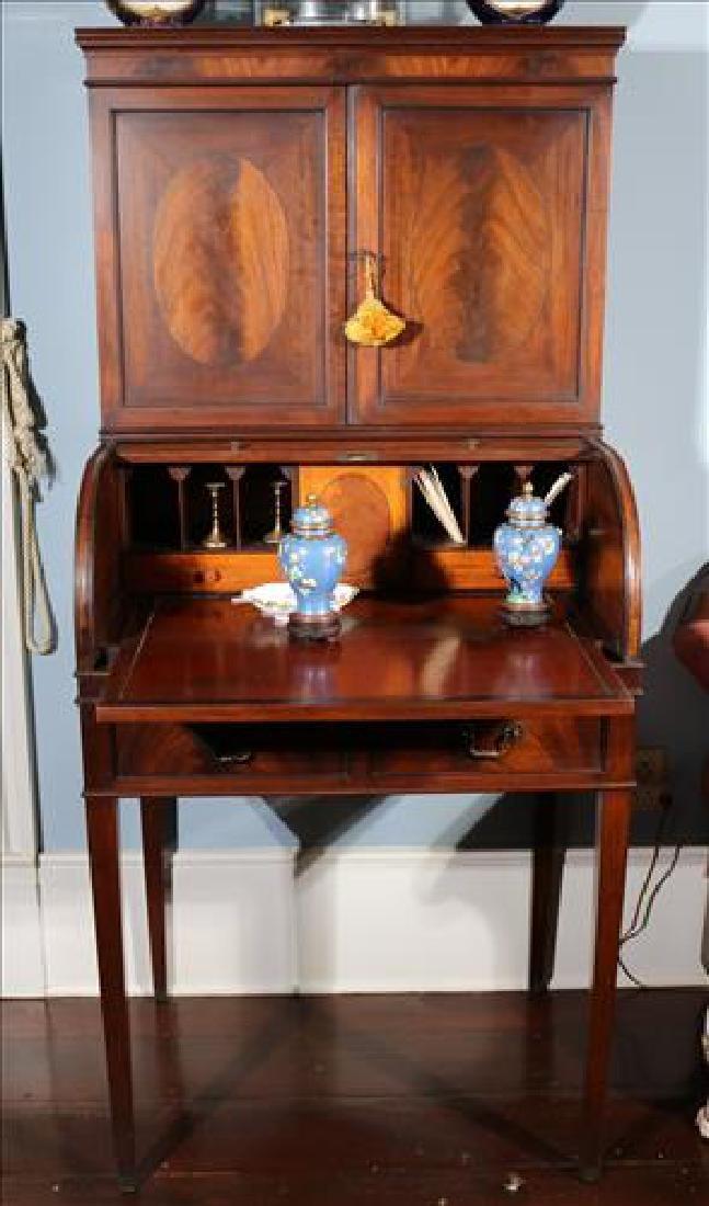 Sheraton style mahogany roll top desk