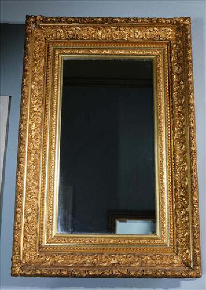 Victorian gold gilded hanging mirror, 36 x 24