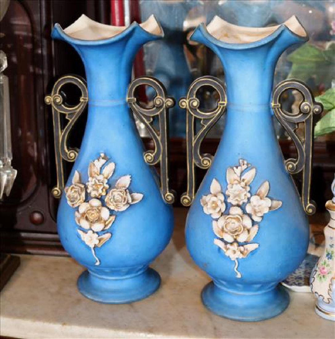 Pair blue porcelain Victorian vases, 15 in. T, 7 in. W.