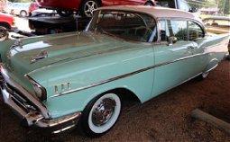 1957 Chevrolet 2 door hard top green car
