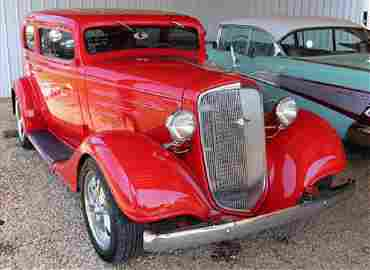 1937 Chevrolet street rod red car, totally rebuilt