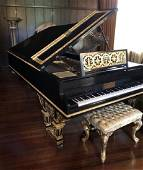 Chickering Grand Piano with gold gilding, restored