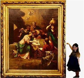 Antique Italian oil painting of the Nativity Scene